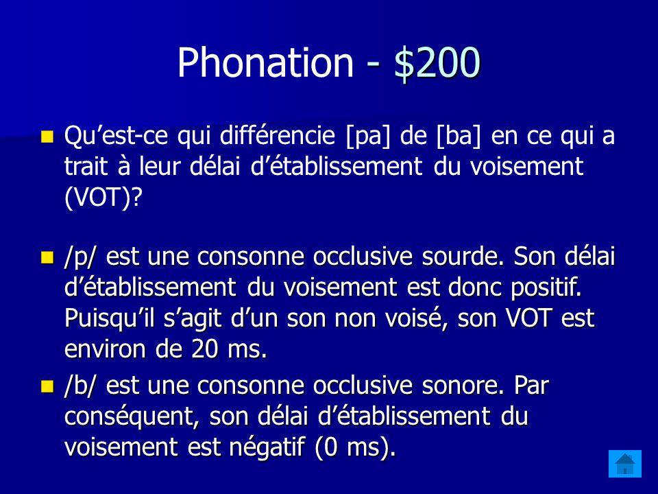Phonation - $200 Qu'est-ce qui différencie [pa] de [ba] en ce qui a trait à leur délai d'établissement du voisement (VOT)